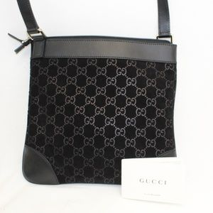 GUCCI Black Suede Guccissima Messenger Bag